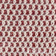 Двухцветные соты - Узор Соты особенно красив, если связать его нитями двух цветов. Видео по вязанию узора Соты, описание и схема.