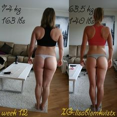 Lisa 12 weeks Transformation Why Squat Is Necessary. This is my progress over 12 weeks. I've lost about ten kilos, 23 lbs (so far!). When I started this
