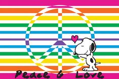 Snoopy with peace sign and bright stripes