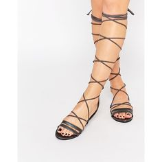 Daisy Street Grey Lace Up Gladiator Flat Sandals featuring polyvore, women's fashion, shoes, sandals, black, flat shoes, black sandals, gray sandals, lace up flat sandals and black lace up sandals