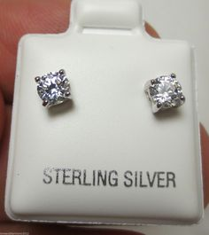 0.58 cts Unisex Round Brilliant cut Mens or Ladies Stud Earrings Sterling Silver #IJOB #Stud