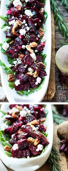 Twice Roasted Beets with Goat Cheese Herbs A healthy gluten free and vegetarian dinner or salad recipe for roasted beets with goat cheese rosemary thyme and pecans Healthy Side Dishes, Side Dish Recipes, Vegetable Recipes, Gluten Free Recipes, Vegetarian Recipes, Cooking Recipes, Healthy Recipes, Beet Salad Recipes, Recipes For Beets