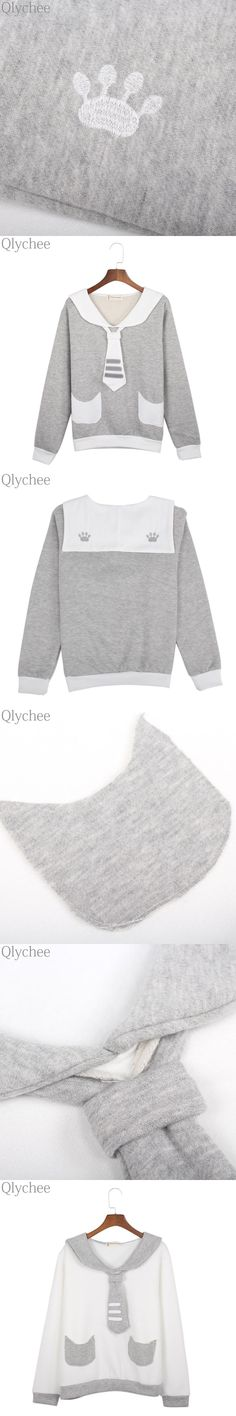 Qlychee Women Casual Sweatshirt Cartoon Cat Paw Embroidery Fleece Pullover Sailor Collar Outwear with Bow Tie