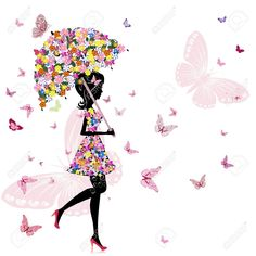 Flower Girl With Umbrella Royalty Free Cliparts, Vectors, And Stock Illustration. Pic 10699114.