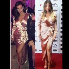 * Pink satin high slit dress Now available, Brand new, pink satin high slit dress. Size L. Kim and Khloe kardashian look a like! . No trades  -- brand only used for exposure-- PRICE FIRM Boohoo Dresses Maxi