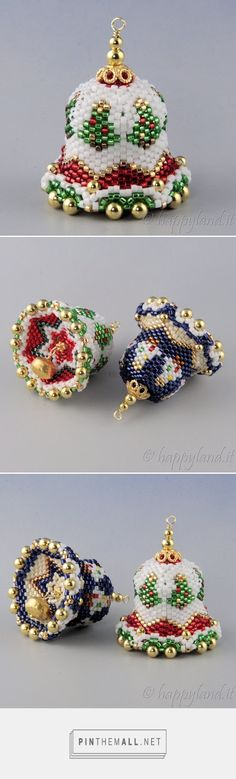 beaded bells ornaments