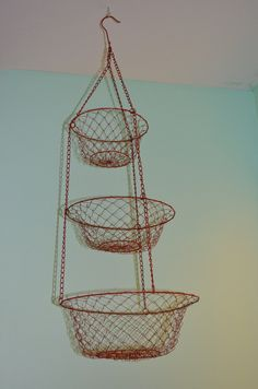 Vintage Red Wire Hanging Basket. $18.50, via Etsy.