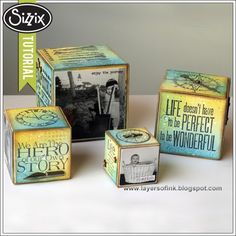 Sizzix Die Cutting Tutorial | Inky Artist Trading Blocks by Anna-Karin. Made with Eileen Hull's Scoreboards Blocks/Cubes dies, Tim Holtz Stampers Anonymous stamps and Ranger inks.
