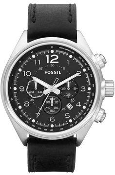 Fossil Men's CH2801 Flight Black Leather Watch < $94.45 > Fossil Watch Men
