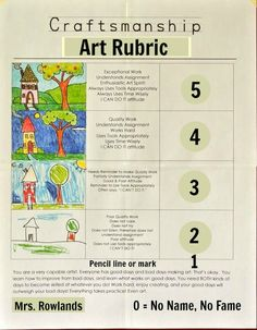 I love this Craftsmanship Art Rubric for - graders. They are great for guiding students to create their best work within the structure of the project. High School Art, Middle School Art, Art Room Posters, Art Classroom Management, Art Critique, Art Handouts, Art Rubric, Art Worksheets, Ecole Art