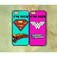 Wonderwoman and Superman Couple Cases -iPhone 5 , 5s, 5c,4s, 4,Ipod touch 5, Samsung GS3, GS4 - Rubber or Hard Plastic Case, Phone cover