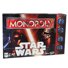 Star Wars version of the classic Monoploy game challenges you to dominate the universe Works like the fast-trading property game but with planets and bases Force cards change your destiny as you play