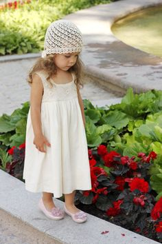 FREE SHIPPINg /Flower girls dress D28 summer cotton birthday baby infant crochet top special occasion wedding on Etsy, $78.87 CAD