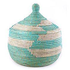 Amazon.com: Woven African Storage Basket - Aqua & White: Home & Kitchen