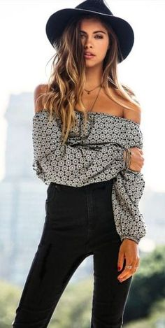 #spring #casual #outfits #inspiration | Off the shoulder print top + black denim