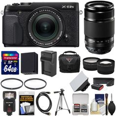 Fujifilm X-E2S Wi-Fi Digital Camera & 18-55mm XF Lens (Black) with 55-200mm XC Lens + 64GB Card + Battery & Charger + Flash + Case + Tripod + Kit. KIT INCLUDES 17 PRODUCTS -- All BRAND NEW Items with all Manufacturer-supplied Accessories + Full USA Warranties:. [1] Fujifilm X-E2S Wi-Fi Digital Camera & 18-55mm XF Lens (Black) + [2] Fujifilm 55-200mm XF R Lens + [3] Transcend 64GB SDXC 300x Card + [4] Spare NP-W126 Battery +. [5] Charger for Fuji NP-W126 + [6] Vivitar 58mm UV Glass Filter…