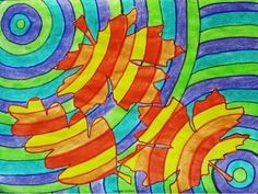 FALLING LEAVES IN WARM AND COOL COLORS - AN ART LESSON - TeachersPayTeachers.com