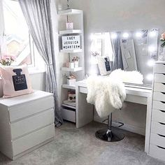 Sunday's. The perfect day for getting inspired and creating gorgeous beauty spaces. Loving this layout and use of IKEA furniture by . Use our VC Dividers – Medium size for both the – IKEA Alex 9 drawer divider per drawer) – Malm 3 d Sala Glam, Vanity Room, Vanity Set, Cute Room Decor, Glam Room, Classy Bedroom Decor, Room Ideas Bedroom, Ikea Bedroom, Bedroom Designs