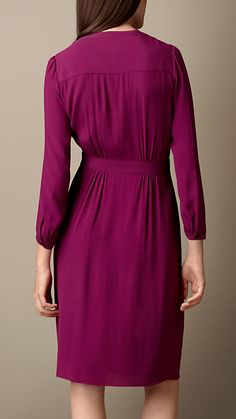 Pleat Detail Cotton Silk Dress | Burberry Brit
