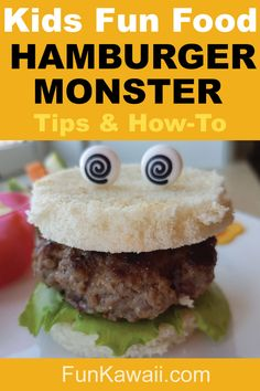 Hamburger Fun Food for Kids! Super easy to make. Get a secret tip of how to make juicy hamburger.you'll be surprised how easy it is! Healthy Kids Party Food, Healthy Toddler Lunches, Quick Healthy Lunch, Easy Snacks For Kids, Kids Meals, Bento Box Lunch For Kids, Lunch Boxes, Fun Foods To Make, Hiking Food