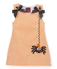 Look at this Lil Cactus Orange Gingham Spider Swing Dress - Infant, Toddler & Girls on today! Little Girl Outfits, Baby Outfits, Little Girl Dresses, Kids Outfits, Girls Dresses, Little Girls, Toddler Dress, Baby Dress, Infant Toddler