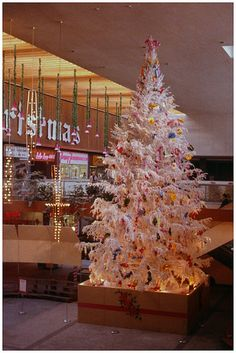 Beautifully Decorated Christmas Tree Love The White  - Vintage Artificial Christmas Trees