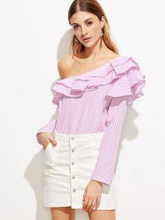 Pink Vertical Striped One Shoulder Ruffle Trim Top