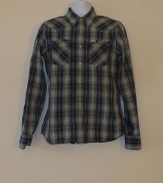 EUC Mens Hollister Guys Shop Shirt SMall S Western Pearl Snap Long Sleeve Button  $19.99