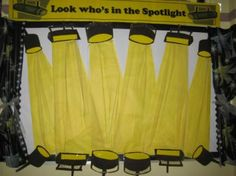 Look Who's In The Spotlight - Bulletin Board for school Library Bulletin Boards, Bulletin Board Display, Classroom Bulletin Boards, Music Classroom, Classroom Themes, Display Boards, Preschool Bulletin, School Displays, Library Displays