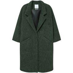 MANGO Oversize Wool Coat ($230) ❤ liked on Polyvore featuring outerwear, coats, jackets, верхняя одежда, long sleeve coat, fur-lined coats, woolen coat, wool lined coat and wool coat