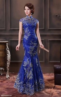 Blue Chinese Wedding Gown