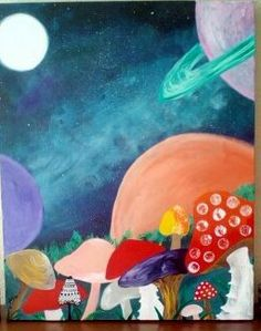 "Mushrooms at midnight . original acrylic painting 24x30 "" galaxy cosmic fantasy surreal space quirky kitsch ooak home decor canvas unframed by MoonlightTraders on Etsy"