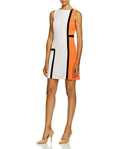 PAULE KA Sleeveless Color Block Dress