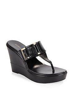 BCBGeneration Quartz Wedge Thong Sandals - Black - Size