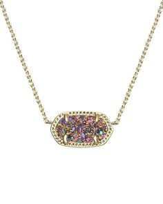 """A glittering stone sparkles at the center of a mesmerizing, versatile pendant necklace. - 15"""" length; 2 1/2"""" extender; 3/8""""W x 3/4""""L pendant dimensions. - Lobster clasp closure. - 14k-gold plate/drusy"""