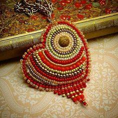Bead embroidery heart shaped pendant #jaumanna  by anika1012.deviantart.com on…