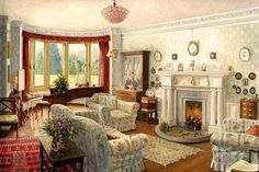 English country house drawing room painting by Stephen Darbishire English Cottage Interiors, Interior Paint, Interior Design, Creation Photo, Inside Home, Vintage Interiors, Watercolor Landscape, Watercolour Paintings, Beautiful Paintings