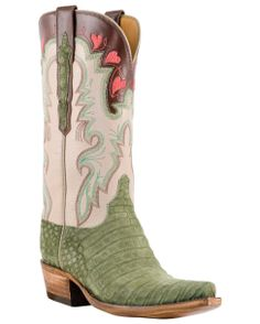 Lucchese Women's Classics Olive Suede Caimen Boots - Sable Goat