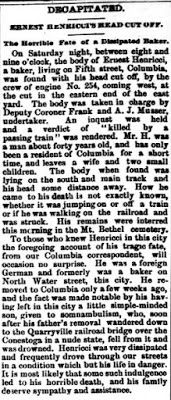Genealogical Gems: On This Day: Columbia baker loses his head