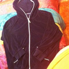 Catalina navy blue, white zip up hoodie Catalina navy blue and white zip up hoodie, 3/4 length sleeves and body. Great to wear over a top. Worn once. Catalina Jackets & Coats