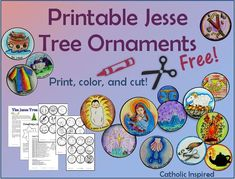 The Catholic House Printable Jesse Tree Ornaments! FREE and EASY! - Catholic Impressed Plus Dimensio Jessie Tree Ornaments, Paper Ornaments, Handmade Ornaments, Christmas Crafts For Kids To Make, Christmas Time, Christmas Ideas, Christmas Displays, Preschool Christmas, Christmas Minis