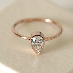 Solitair Pear Diamond Engagement Ring - 0.5 Carat Pear Diamond Ring - 14k Rose Gold on Etsy, $1,850.00