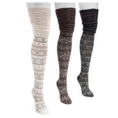 Muk Luks Women's 3 Pair Pack Microfiber Over the Knee Socks - Neutral One Size Fits Most, White