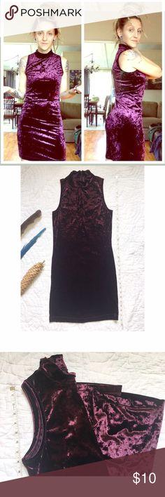 """Burgundy crushed velvet turtleneck dress ❤️ Fun. Fierce. Sassy. Pretty. 🌺🌹 This dress has no tags, but measurements are in the small range. Can be dressed up or down. Boho~diva.:. It's comfortable and stretchy. Zipper at back of neck. Great condition. 〰 33"""" shoulder to bottom of dress • 15"""" pit to pit (laying flat) . Dresses Mini"""