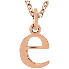 """14k Solid Gold Lowercase Initial Pendant 16"""" Necklace Tiea Jewels Gold C, Solid Gold, Rose Gold, Initial Earrings, Initial Pendant, Fine Jewelry, Women Jewelry, Necklace Price, Gold Material"""