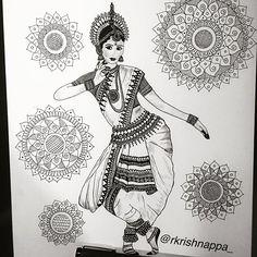 classical dance form from the eastern coastal state of India . Expresses religious stories and spiritual ideas. Tag if you know a Odissi dancer. Dancing Drawings, Art Drawings Sketches, Pencil Drawings, Pretty Drawings, Mandala Art Lesson, Mandala Artwork, Dance Paintings, Indian Art Paintings, Doodle Art Drawing