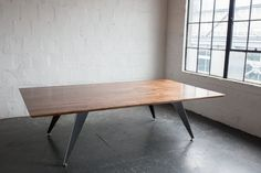 Beautiful walnut with aluminum legs and inlay. Conference Table, Dining Bench, Hardwood, Legs, Furniture, Beautiful, Design, Home Decor, Dining Room Bench