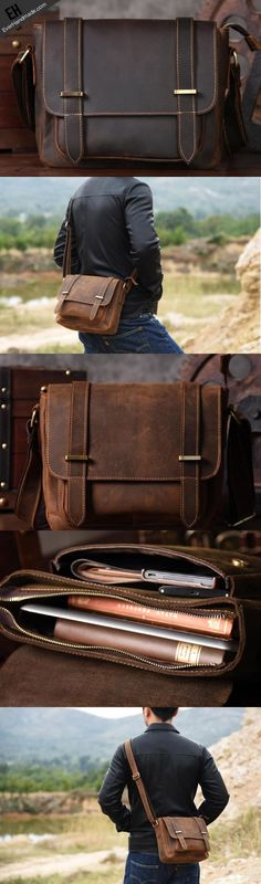 Handmade leather men Briefcase messenger vintage shoulder laptop