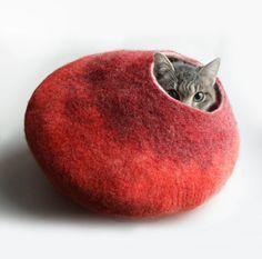 vaivanat Warm Orange Red Bubble - Hand Felted Wool Cat Bed / Vessel - Crisp Contemporary Design