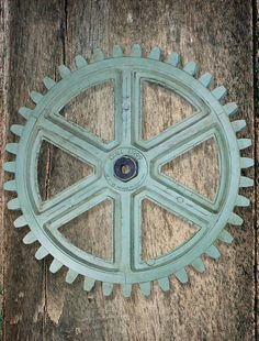 NEW  Industrial Wooden Gear Steampunk Wall Art by barnowlprimitives customizable with your name and a date - great piece for a gallery wall